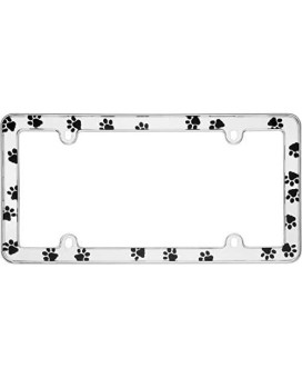 Cruiser Accessories 23033 PawsNumber Plate Frame - Chrome, White, Standard