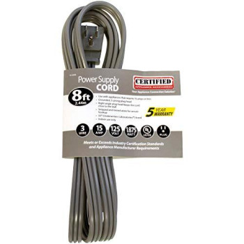 Certified Appliance Accessories 15-0348 15-Amp Appliance Power Cord, 8 Feet, 3 Wires, Grounded, Right Angle Plug Head