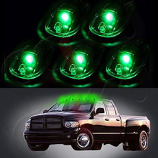 Cab Marker Light 5X T10-6-3020-Smd Green Top Clearance Roof Running Bulbs With 5X Smoke Cab Roof Light Base Replacement Cab Marker Assembly For 2012-2016 For Dodge For Ram 1500 2500 3500 4500 5500