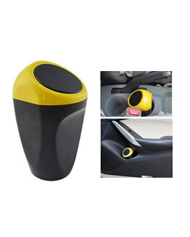 Yolu Car Trash Can Mini Auto Garbage Can Automotive Waste Storage Storage Debris Barrels with Lid Yellow Cute Vehicle Trash Bins Common Use for Car Home Office Bathroom Kitchen Living Roometc