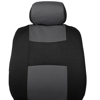 Bdk Polypro Car Seat Covers, Full Set In Charcoal On Black - Front And Rear Split Bench Protection, Easy To Install, Fit For Auto Truck Van Suv, Charcoal Gray