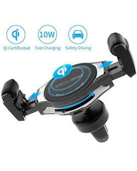 Wireless Car Charger Ocube Upgraded Roller Buckle Air Vent Phone Holder With Qi Wireless Fast Charging For Iphone Xs Max/X/8/8 Plus Samsung Galaxy Note 9/S9/S9+/S8/S8+ And More -Black