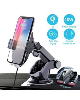 Youstoo Wireless Car Charger Mount Automatic Sensing Clamping Car Mount Holder 75W/10W Qi Fast Charging Car Phone Holder Compatible With Iphone Xs/Xs Max/Xr/X/ 8/8 Plus Samsung Galaxy (Black)