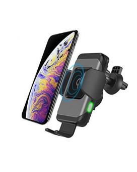 Wireless Car Charger Qi Standard Auto-Clamp 10W/75W/5W Fast Charging Air Vent Phone Holder Compatible With Iphone 8/X/Xs Samsung S7/S8/S9 (10W Air Vent Only)