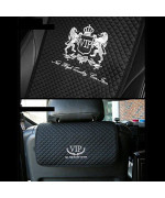 Vip Premium Black Car Seat Covers Mat Lion Silver Stitch Logo For All Motors Auto Vehicle Seatcover (1Pack)
