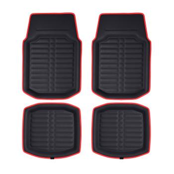 Pu Leather Deep Tray Floor Mats - Redblack