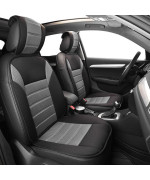 Ultra Fine Polyester Car Seat Cushion Pads Front Set- Gray