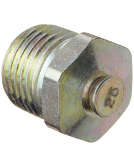 """Alemite 323060 Pressure Relief Fitting, Straight, 15 - 25 psi Relief Pressure, OAL 1/2"""", Shank Length 19/64"""", Hex Size 7/16"""", 1/8"""" PTF SAE"""