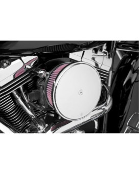 Arlen Ness Billet Sucker Stage II Air Filter Kit with Steel Cover - Smooth Chrome - Red Filter 18-818