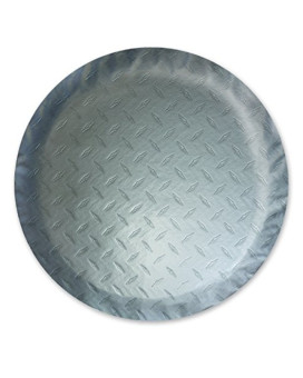 ADCO 9758 Silver Diamond Plated Steel Vinyl Spare Tire Cover L, (Fits 25 1/2