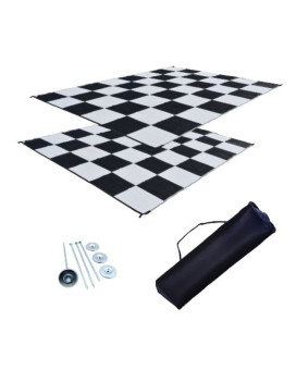 RV Patio Mat Awning Mat Outdoor Leisure Mat 9x12 Checkered Flag Complete Kit