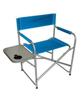 Texsport Steel Directors Chair with Table (Blue, 31.87-Inch X 19.28-Inch X 31.81-Inch)