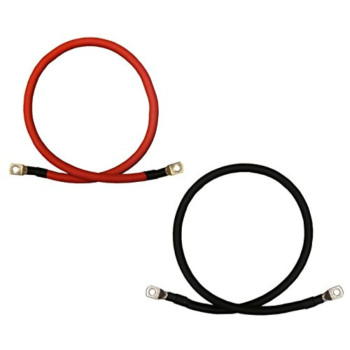2 AWG Gauge Red + Black Pure Copper Battery Inverter Cables Solar, RV, Car, Boat 3ft 3/8 in Lugs