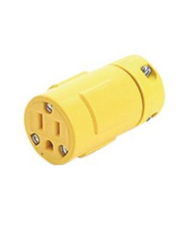 Woodhead 1547 Super-Safeway Connector, 2 Poles, 3 Wires, NEMA 5-15 Configuration, Yellow, 50A Current, 125V Voltage