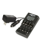 ANSMANN Powerline 4 Pro Battery Charger with Display Capacity Test, Discharge function & Maintenance Station for AAA/AA/USB