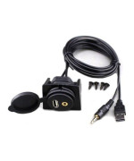 USB & 3.5mm AUX extension Flush Mount 2 Meter Audio cable , 1/8 AUX Car Bike Boat Motercycle Lead