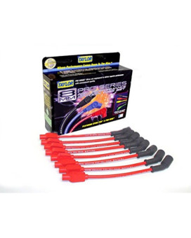 Taylor Cable 72205 Red Custom 8mm Spiro-Pro Ignition Wire Set