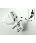 Tmvel TMV-S2IN1 Grounded Universal 2 in 1 Schuko Plug Adapter Type E/F for Germany, France, Europe, Russia & more - High Quality - CE Certified - RoHS Compliant - 2 Pack