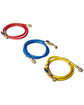 "Yellow Jacket 29984 Plus II 1/4"" Hose with Compact Ball Valve, 48"" (Pack of 3)"