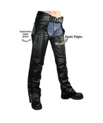 Xelement B7556 Womens Black Braided Zippered Leather Chaps - 6