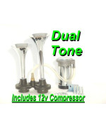 Chrome Dual Trumpets 135Db Air Horn Kit W/12V H.D. Compressor Plug-N-Blow Perfect For Small Areas