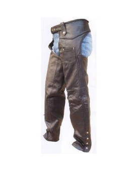 Mens Heavy Duty Cowhide Leather Braided Motorcycle Chaps with Inner-Lining - XL - AL 2418