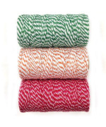 Wrapables 12-Ply Cotton Baker'S Twine For Gift Wrapping And Arts And Crafts, 110-Yard Spool, Dark Green/Orange/Red And Hot Pink, Set Of 3