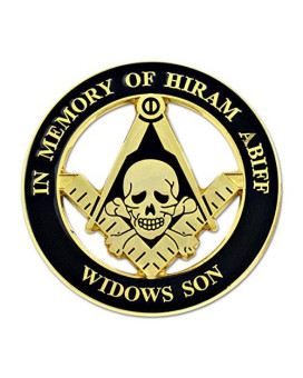 "Widow's Son Skull Square & Compass Round Black & Gold Car Auto Emblem - 3"" Diameter"
