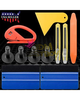 Professional Vinyl Wrap Film Application Tool Kit Premium Quality Blue Felt Squeegees Snitty Cutter Regular Razor Knife Edge Pry Tool Magnets Tk05