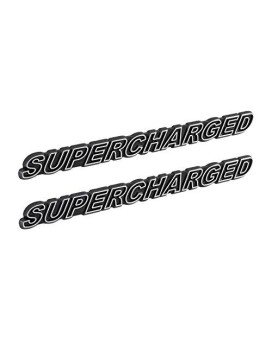 """SUPERCHARGED Supercharger Engine Emblems in Chrome & Black Trim - 5.5"""" Long Pair"""