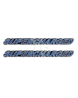 """SUPERCHARGED Supercharger Engine Emblems in Chrome & Blue Trim - 5.5"""" Long Pair"""
