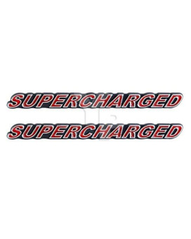 """SUPERCHARGED Supercharger Engine Emblems in Chrome & Red Trim - 5.5"""" Long Pair"""