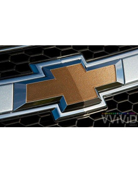 VVIVID Gold Metallic Gloss Auto Emblem Vinyl Wrap Overlay Cut-Your-Own Decal for Chevy Bowtie Grill, Rear Logo DIY Easy to Install 11.80ƒ? x 4ƒ? Sheets (x2)