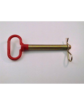 """Ak Garage 5/8"""" X 7.5"""" Heavy Duty Loop Handle Hitch Pin &Amp; Clip Red Plastic Coated Handle"""