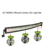 YITAMOTOR 42 Inch 400W Curved LED Light Bar Spot Flood Combo Offroad Lights with 12V Wiring Harness for Truck, Jeep, SUV, UTV, Boat