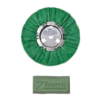 "Zephyr 8"" Hall Green Airway Buffing Wheel w/ 1 LB Green Bar Meduim/Lite Cut"
