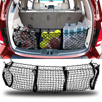 Zento Deals Heavy Duty Stretchable Black Mesh Net Cargo Trunk Storage Organizer- Keeping Things Secured And More Organize With 4 Plastic Hooks