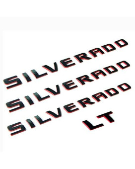 Yoaoo 3pcs OEM Silverado Nameplate Plus LT Letter Emblems 3D Badge 1500 2500HD 3500HD Original Silverado series Red Line Redline