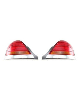 Taillights Taillamps Red & Amber w/ Chrome Trim Pair for 98-03 Crown Victoria