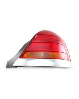 Taillight Taillamp RH Rear Red & Amber w/ Chrome Trim for 98-03 Crown Victoria