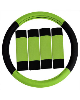 Road Master Steering Wheel Cover And Seatbelt Pads - Green